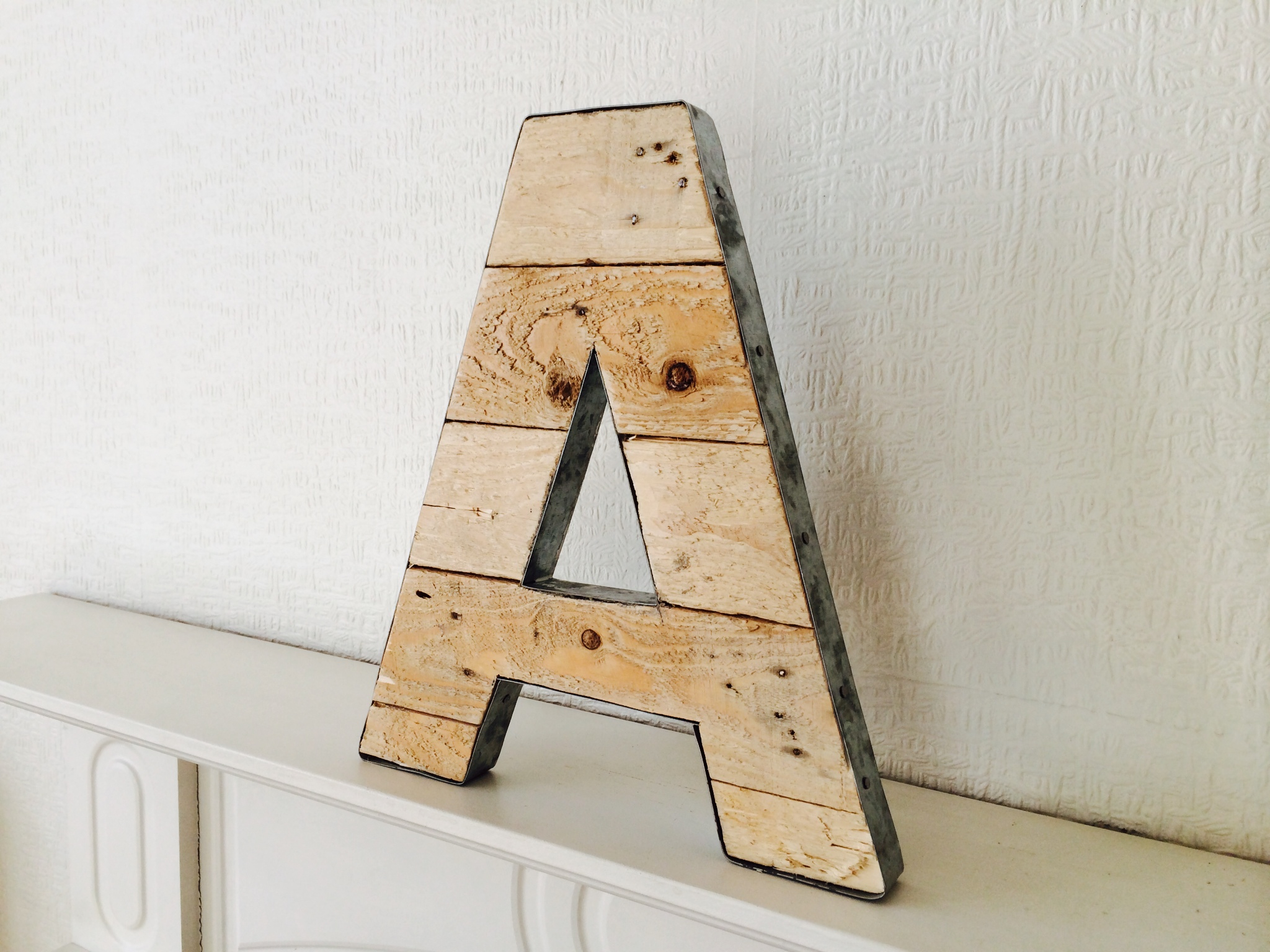 Galvanised Letters A  Z Wooden Letter With Galvanised Steel Edging